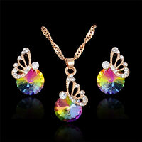 Gold Plated Crystal Rhinestone Butterfly Pendant Necklace/Earrings Jewelry Set
