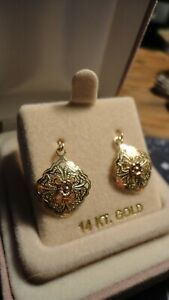 14k Yellow And Rose Gold Earrings