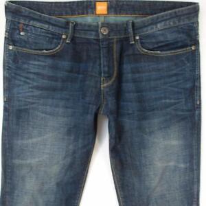 Hommes HUGO BOSS ORANGE 24 Ajusté Straight Bleu Jeans W38 L32