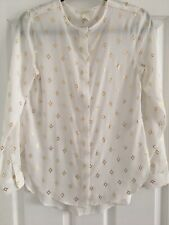 Ladies H&M Off White Long Sleeve Blouse with Gold - Size UK 6 (EUR 34). Exc Cond