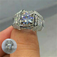 White Topaz Men Ring Women Topaz Wedding Sz7-12 Jewelry Party