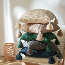 Chenille Cushion Covers Square Throw Pillow Case Tassel Pom Pom Sofa Home Decor