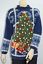 Vintage Christmas Sweater Tree Bear Blue Heavy Knitted Women's Med Shoulder Pads