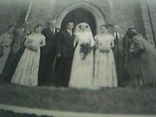 bw wedding photograph 3x2 inches wedding bride outside church C21435