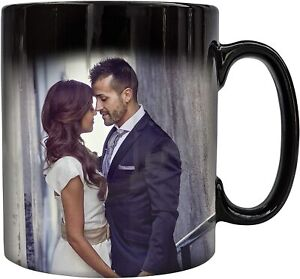 Personalised Photo Black Magic Colour Changing Mug Any Picture / Text