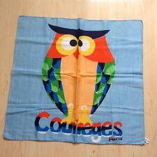 """Vintage Courreges Cotton Scarf/hanky """"Owl�"""