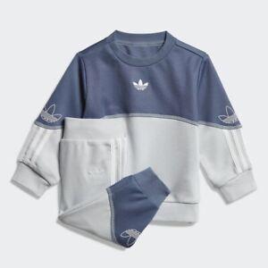 adidas Originals infant blue Outline crew neck suit. Ages 3-4 years.
