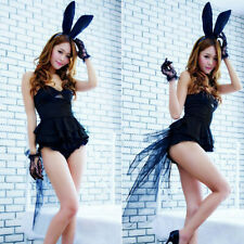 Adult Women Girl Sexy Black Bunny Halloween Party Cosplay Costume Fancy Dress