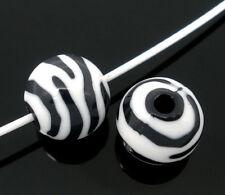 50 Perles intercalaire Zébrée Acrylique Ronde 12mm Dia.