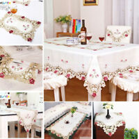 Retro Flower Embroidered Tablecloth Table Runner Cutwork Doily Mat Wedding Decor