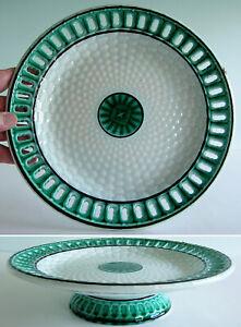 A Pierced Rim Basketweave Green Glaze Majolica Tazza or Low Pedestal Dish