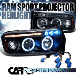 1994-2001 Dodge Ram 1500 2500 3500 Sport Black LED Halo Projector Headlights