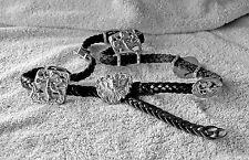 SL Women's SizeL#3125 BLACK BRAIDED Leather Silvertone ANGEL CONCHO WESTERN Belt