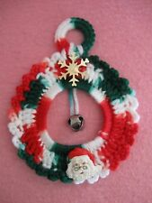 Red White Green Crochet Wreath Snowflake Santa Face Jingle Bell Center Ornament