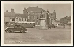 PETERSFIELD, HANTS. postcard-size photo The Square cars bus