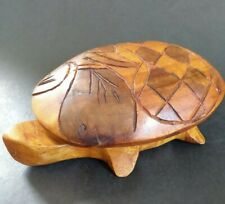 Vintage Hand Carved Wooden Turtle Tortoise Trinket Box Shell Lid Coastal Decor
