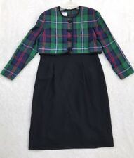 Green Plaid Talbots Dress 12 Petite Womens Pleated Skirt 1 Piece Vintage EUC