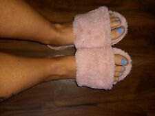 Pink fluffy slippers Size 6