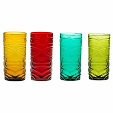 Brandani 53154 Tiki Assorted Coloured Cocktail Glasses Set 4 Pieces, Multicolour