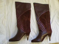 MEDIRA Knee High Boots Brown Leather suede Pull On Womens New Size UK 3 3.5 4