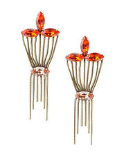 Lionette Designs Blush & Papparachi Lotus Fringe Earrings, Swarovski Crystal