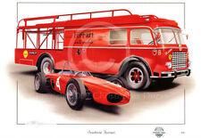 FERRARI Squalo naso 156 F1 GP & TRANSPORTER Phil Hill 1961 NUOVO pittura arte print
