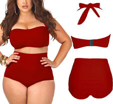 4X Red Fat Womens High Waist Halter Bandeau 2 Plus Size Bikini Swimsuit US Stock