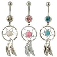 Lot de 3 Piercings nombril  attrape rêve cristal blanc, rose  acier chirurgical.