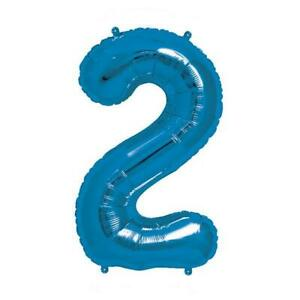 """NEW Blue Number 2 Balloon - 16"""" / 40 cm Foil (each) Partyware Gifts School"""