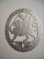 """Vintage """"Dresden"""" Silver Embossed Winged Lion Fabric Label w/ Oval Edging  *"""