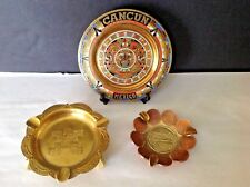 Lot 3 Mexican/Mexico VTG Handcrafted Cancun Brass-Enamel Aztec Plate & Ashtrays