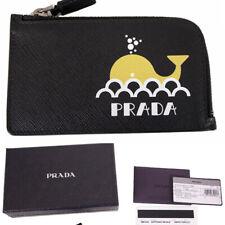 NEW $395 PRADA Yellow WHALE Partial Zip SAFFIANO LEATHER Card Case WALLET NIB
