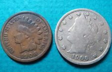 1906> Lot of (2) Vintage 1906 LIBERTY HEAD NICKEL/LINCOLN WHEAT, Fine Coins #6
