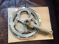 "Nervar 8.25"" Chrome Dual Chainring w/ Cranks for vintage bicycle 3-point Design"