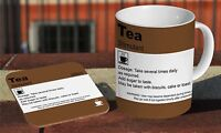 Tea Prescription Doctor Note Novelty Ceramic Coffee MUG Wooden Coaster Gift Set