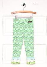 NWT MATILDA JANE LEGUME Ruffled Green Leggings 6 Chevron Zig Zag Hello Lovely