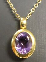 Anhänger Kette 333 GOLD pendant necklace Amethyst amatista Collier or Art Deco