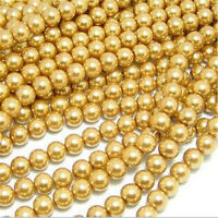 50Pcs/100pcs Gold/Silver Plated Round Ball Beads Spacer 6mm 8mm 10mm