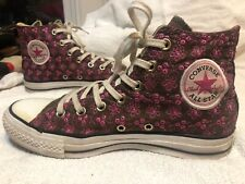 Converse All Star Chucks Limited Edition Embroidered Flower Pink Brown WM Sz 8