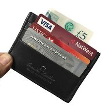 Real Leather Mens Small Id Credit Card Wallet Holder Slim Pocket Case 6 x CARD