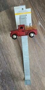 Red Truck w/ Pumpkin Fall Decor Over - The - Door - Hanger Metal Wreath NWT