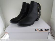 NIB Unlisted Rebel Way Black Ankle Boots Chunky Heel Size 9.5 MSRP $69