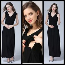 SALE NEW BLACK MATERNITY BREASTFEEDING NURSING MAXI DRESS SIZE S M L 8 10 12 14