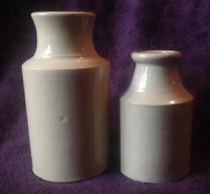 2 antique vintage stone bottles cream / white glaze Victorian?