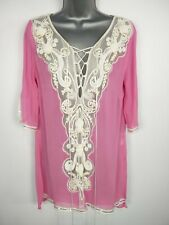 WOMENS PACHA IBIZA RIVER ISLAND PINK BEAD EMBELLISHED SHORT SLEEVE BEACH COVER M