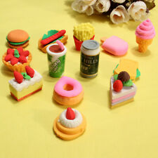 Pencil Eraser Novelty Stationery Funny Cute Food Rubber Sets Children Party Gift