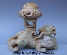 Dynasty Old He Tian Jade wild Beast Dragon Brave troops Censer Vase Statue AA