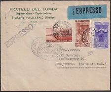 1954 27 Feb expressed from Florence to Ulm in Germany with nice Postage trico