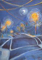 "Original gouache painting ""Crossroads Crosswalks"" for sale by artist, signed"