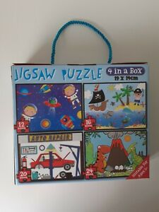 4 in 1 box Jigsaw Puzzle Astronauts - Pirate - Auto Repair - Dinosaurs 19 x 14cm